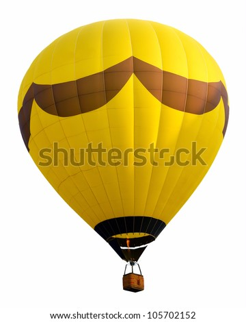 Yellow hot air balloon isolated against background