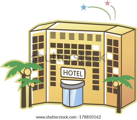 Yellow Hotel Building With Palm Trees
