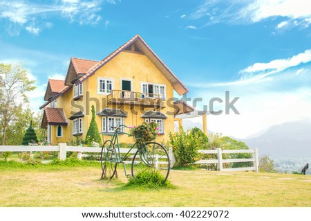 Yellow house famous place  in Pai, Mae Hong Son, north of  Thailand - stock photo