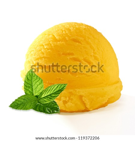 Yellow ice cream scoop with mint on white background - stock photo