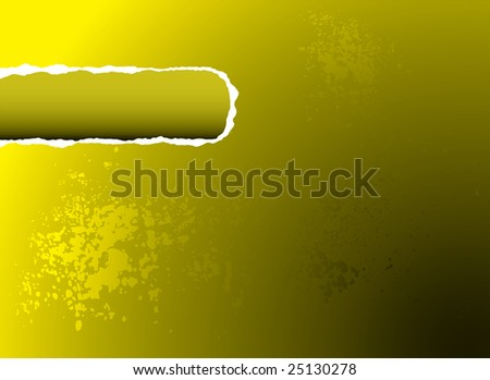 Yellow illustrated background with a rip out of the corner for your own text - stock photo