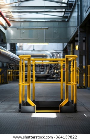 Yellow  industrial construction frame in modern factory - stock photo
