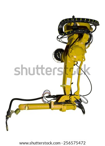 Yellow Industrial machine part on white background - stock photo