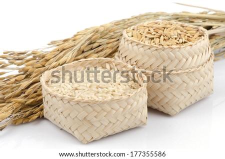 yellow jasmine rice (brown rice) on white background. - stock photo