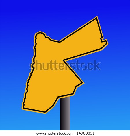 yellow Jordan map warning sign on blue illustration JPG