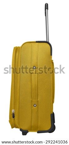 Yellow journey suitcase isolated on white. Clipping path included. - stock photo