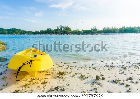 Yellow kayak on the sea. Kayaking on island, Lipe, Satun, Thailand - stock photo