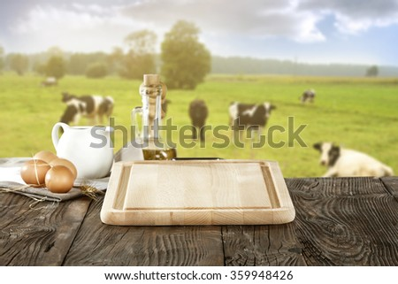 yellow kitchen desk and cows  - stock photo