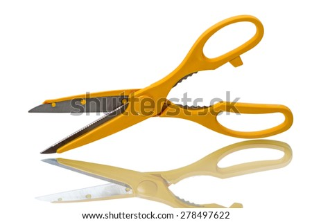Yellow kitchen scissors isolated on a white background - stock photo