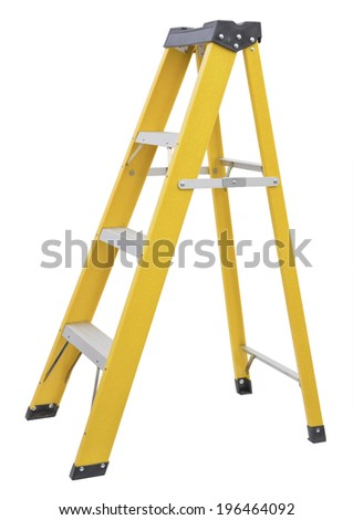 yellow Ladder  isolated on white - stock photo