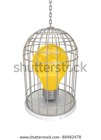 Yellow lamp in a vintage cage.Isolated on white background.3d rendered. - stock photo
