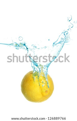 yellow lemon fall in real blue water splash isolated over white background