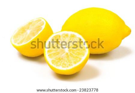 Yellow lemon isolated on white - stock photo