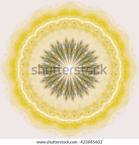Yellow lemon Olive Green wheel kaleidoscope twist twirl spin artistic detailed white abstract art design background backdrop spiral unique different pieces section  - stock photo