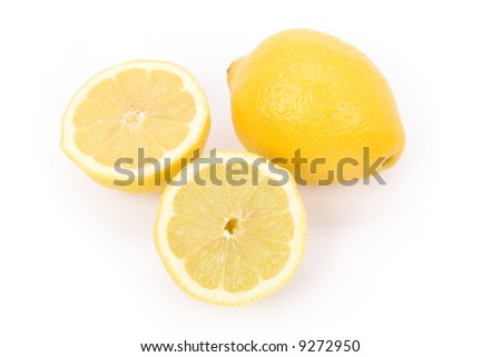 Yellow Lemons with white background