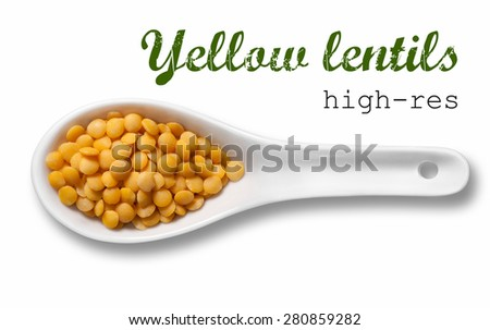 Yellow lentil in white porcelain spoon/ high resolution product photography of seed in white porcelain spoon over white background with place for your text - stock photo