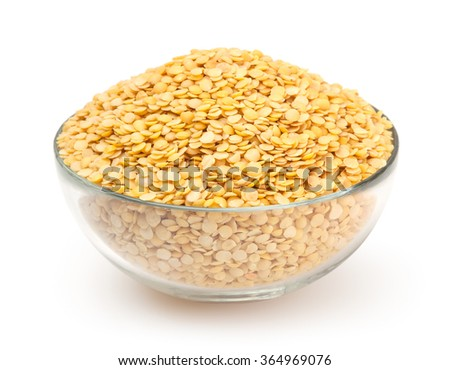 Yellow lentil isolated on white background - stock photo