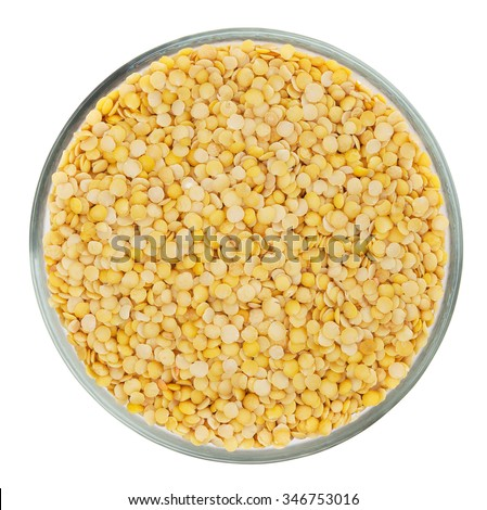 Yellow lentils isolated on white background with clipping path - stock photo