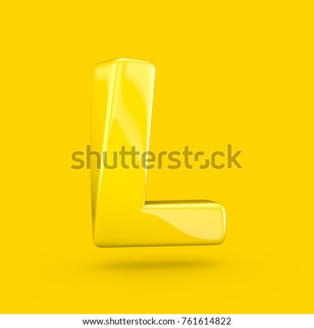 Yellow letter L uppercase. 3D render of glossy font with glint isolated on yellow background.