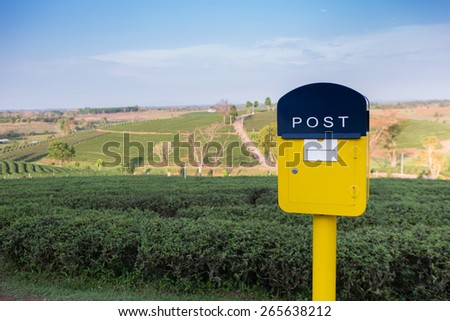 Yellow letterbox with green tea plantation background - stock photo