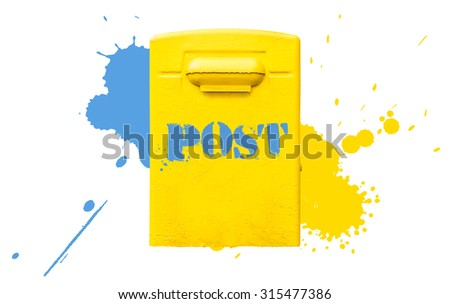 Yellow letterbox with label isolated on white background with paint splashes. - stock photo