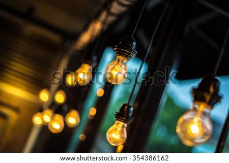 Yellow Light Bulbs - stock photo
