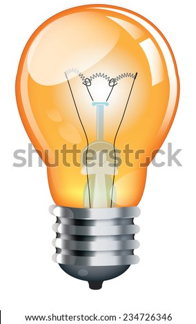Yellow Lightbulb with filament.