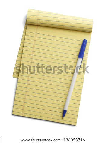 Yellow line notepad with pen on top isolated on a white background. - stock photo