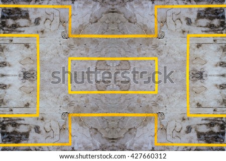 Yellow lines on the concrete path shown. - stock photo
