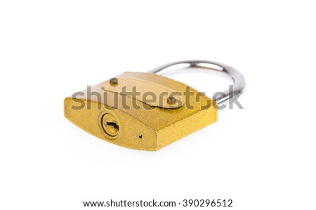 Yellow lock security  isolated on white background
