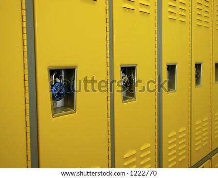 Yellow Lockers - stock photo