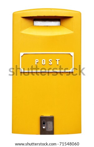 Yellow mail box isolated over the white background - stock photo
