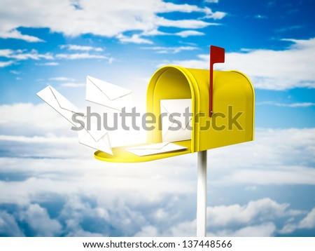 Yellow mailbox on the sky