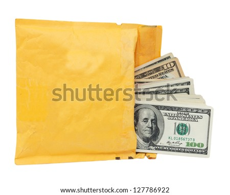 yellow mailing envelope with dollars on a white background - stock photo