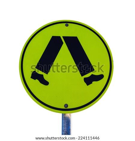 yellow man walking sign isolated on white - stock photo