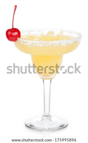 Yellow margarita cocktail with red cherry in chilled salt rimmed glass with tequila crushed ice in cocktails glass isolated on white background - stock photo