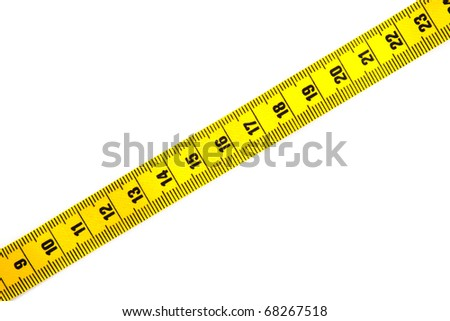 Yellow measure tape isolated on a white background