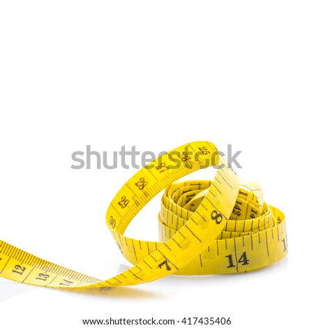 Yellow Measure tape on white background