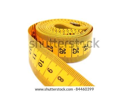 Yellow measuretape isolated on white background. - stock photo