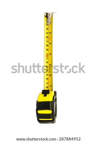 yellow Measuring Tape isolated on white background . - stock photo