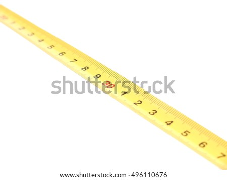yellow measuring tape on white background