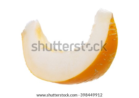 yellow melon, juicy ripe, isolated on white background - stock photo