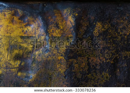 yellow metal rusty corroded texture, grunge background