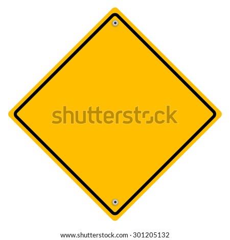 Yellow metal sign. - stock photo