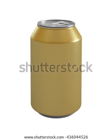 Yellow metallic can isolated on white background.3D illustration