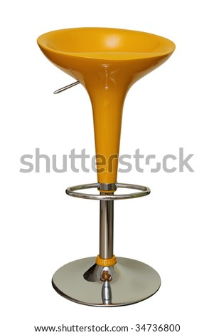 yellow modern bar chair isolated over white background - stock photo