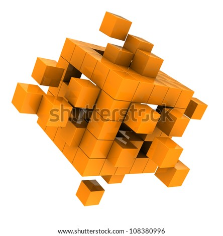 Yellow modern cube isolated  on white background - stock photo