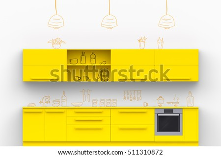 Yellow Modern Kitchen With Hand Drawn Painted On White Wall Doodle Kitchenware And Kitchen Accessories