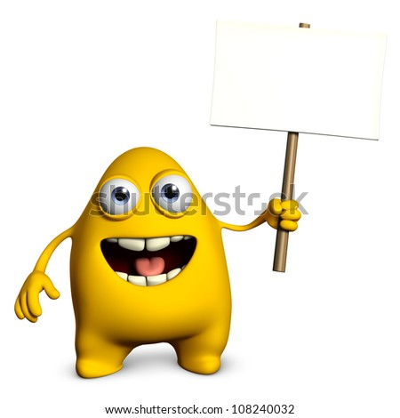 yellow monster holding empty placard - stock photo