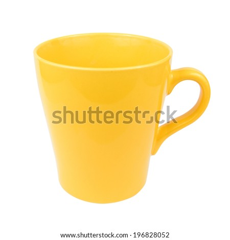 Yellow mug cup for coffee tea water on white background (screen clipping paths included) - stock photo